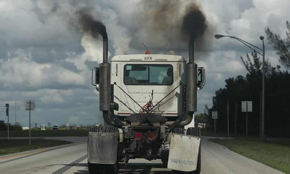 truck spewing exhaust fumes