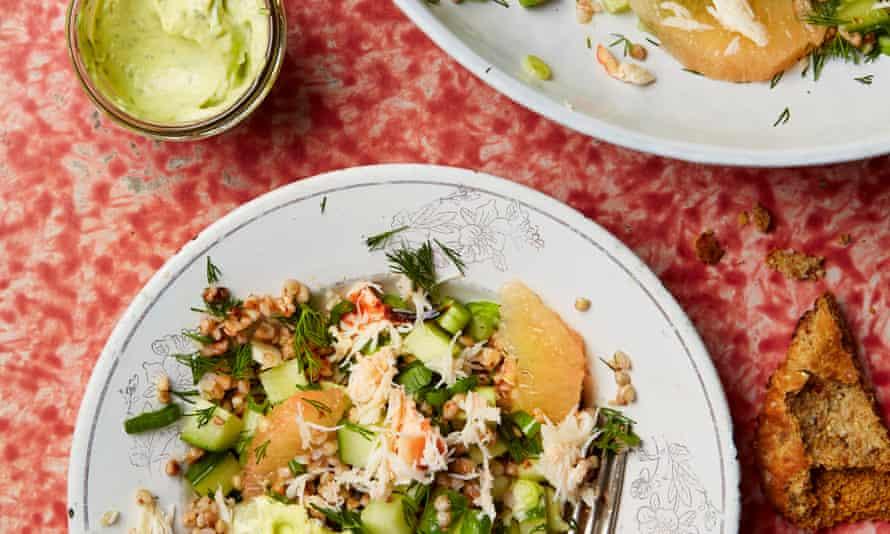 Thomasina Miers' crab, grapefruit and buckwheat salad
