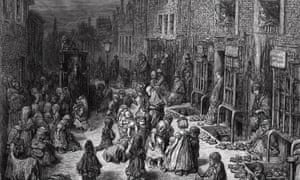 Gustave Dore's engraving of the slums in Dudley Street, Seven Dials, central London, 1872.