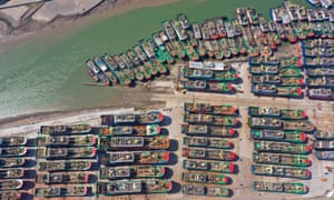 Aerial view of ships at a ship building yard during the summer fishing moratorium on 17 June 2020 in Wenling, China.