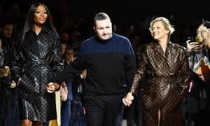 Naomi Campbell, Kim Jones and Kate Moss walk the runway during the Louis Vuitton menswear autumn/winter 2018-2019 show as part of Paris fashion week.