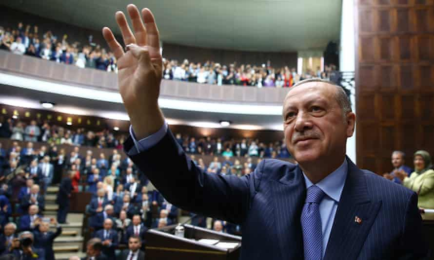 Recep Tayyip Erdoğan addresses his party