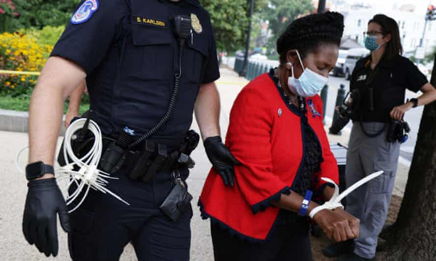 Sheila Jackson Lee, a Democratic representative of Texas, is arrested as she participates in a voting rights demonstration in Washington DC.