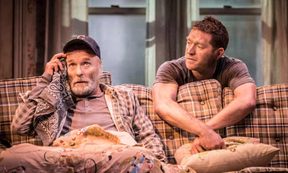 Attack on the American household gods … Ed Harris as Dodge and Barnaby Kay as Tilden in Buried Child.