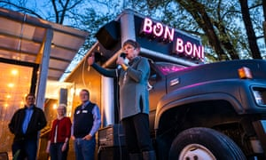 Democratic Kansas gubernatorial candidate Laura Kelly campaigns at Bon Bon restaurant in Lawrence, Kansas, on Friday.