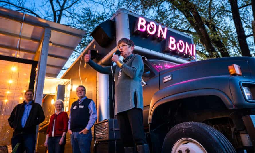 Democratic Kansas gubernatorial candidate Laura Kelly campaigns at Bon Bon restaurant in Lawrence, Kansas, on Friday.