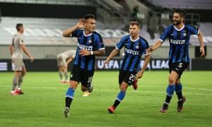 Inter Milan's Lautaro Martinez celebrates scoring his second.