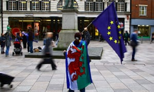 On the morning of article 50 being triggered, a defiant pro-EU protester demonstrates in Cardiff