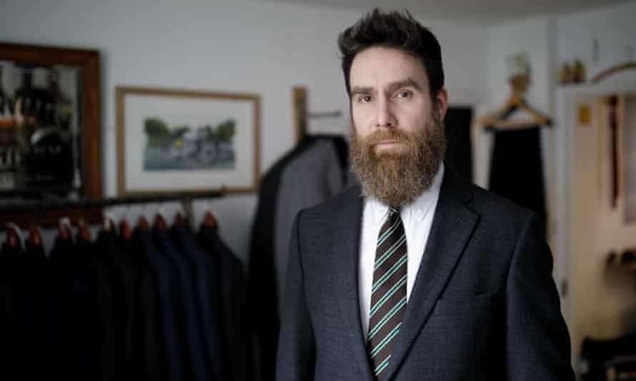 Tailor Jason Regent in his shop in Salisbury.