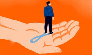 Illustration, of man cupped in a caring hand, casting shadow in shape of prostate cancer ribbon, by Sébastien Thibault