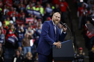 Brad Parscale, campaign manager for Donald Trump speaks during a campaign rally at the Target Center in Minneapolis on 10 October 2019.