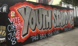 'Youth stand up! Vote Corbyn! Take back your future! Tories out!': a painted hoarding board in north London during the 2017 general election