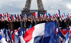 François Fillon, centre, at his rally in Paris on Sunday.