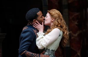 André Holland and Jessica Warbeck as Othello and Desdemona at the Globe.