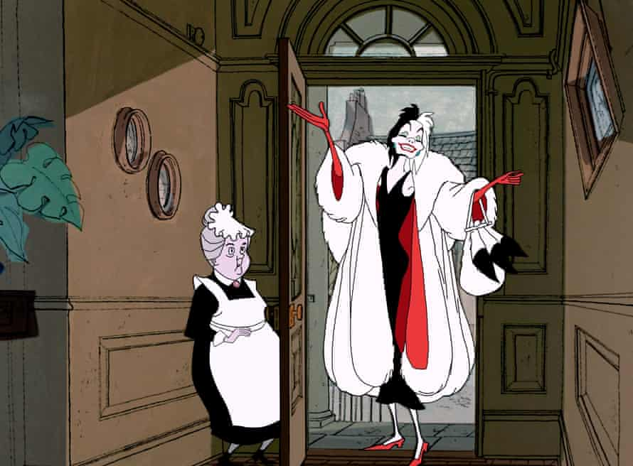 Cruella makes her grand entrance in the 1961 Disney animation 101 Dalmations.