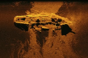 This undated sonar image released by the Australian Transport Safety Bureau shows a wreck on the bed of the Indian Ocean.