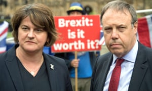 DUP leader Arlene Foster and her deputy, Nigel Dodds, in Westminster following a meeting with Theresa May last September.