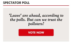 The Spectator runs a poll on whether UK voters can trust polls, ahead of the EU referendum on 23 June.