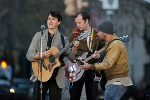 Members of Vampire Weekend perform before a campaign rally for Bernie Sanders in Washington Square Park.