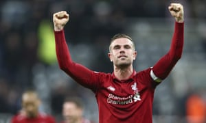 Jordan Henderson salutes the fans after Liverpool's win at Newcastle on Saturday