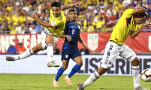 Radamel Falcao takes a shot at goal during Colombia's victory over USA
