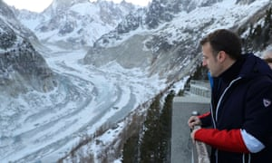 Emmanuel Macron visits the Mer de Glace glacier in Chamonix.