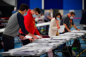 Counting for the Senedd election continuing at the Cardiff City House of Sport this morning.