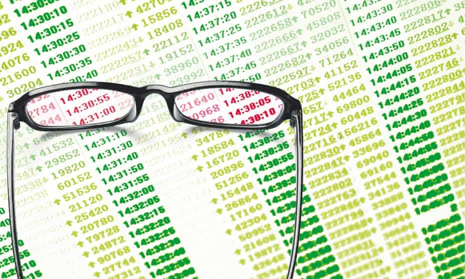 illustration: glasses revealing red number on financial reports