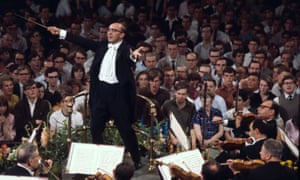 Gennady Rozhdestvensky, the principal conductor of the Moscow Radio Symphony Orchestra, performing at the Albert Hall, in London, in 1966.