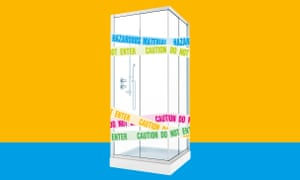 Composite of shower unit with 'caution do not enter' tape around it