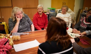 De Piero speaking to constituents at a knitting group, where May gets some sympathy.