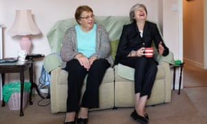 Theresa May visits a housing estate in north London
