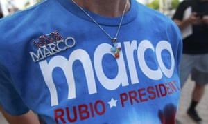 A supporter wears a Rubio T-shirt before the speech in Miami.
