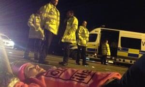 Activists blockading Stansted's runway to stop deportation flight