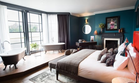 Bedroom with view of suspension bridge, the Avon Gorge Hotel