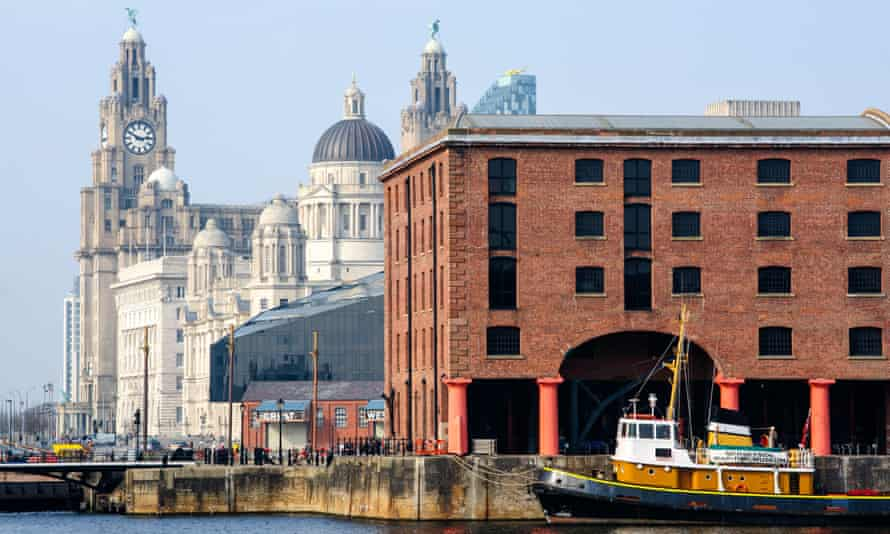 The Royal Liver Building behind Albert Dock, Liverpool.
