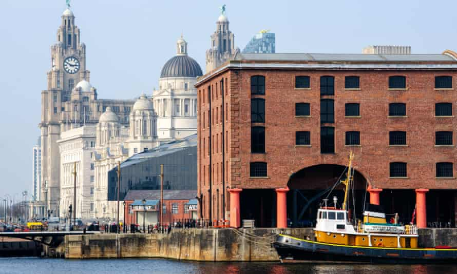 Royal Liver building and Albert Docks in Liverpool