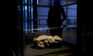 A segment of the 130 tonne, 250 meter-long Whitechapel fatberg, on display at the Museum of London in London