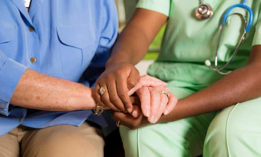 Care worker and elderly person