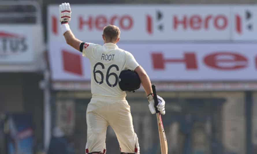 Joe Root after reaching his century against India, becoming only the third Englishman to score a hundred in his 100th Test match.