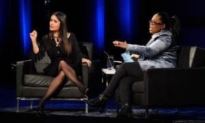 Oprah talking to actor Salma Hayek.