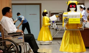 Robot document couriers in a Thai hospital