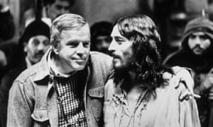 With Robert Powell on the set of Jesus of Nazareth in 1977.
