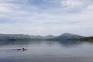 A swimmers enjoys Loch Lomond following stage one of lockdown easing in Scotland.