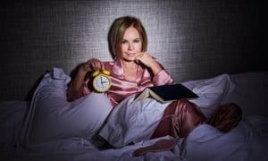 'My brain begins its relentless scan for topics to keep me engaged': Mariella Frostrup is among the 65% of women aged 55-64 experiencing insomnia. Mariella wears Coco rosehip pyjama set by oliviavonhalle.com; eyemask on bed by slipsilkpillowcase.co.uk; and Echo alarm clock by newgateworld.com.