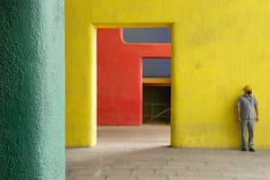 Details of the entrance portal, with its massive and brightly coloured concrete columns