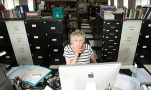 Germaine Greer at the computer.