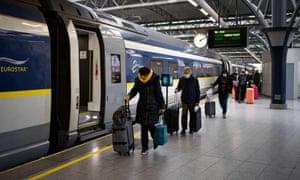 Eurostar travellers from London arrive in Brussels.