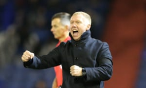 Paul Scholes, the new manager of Oldham Athletic, celebrates the opening goal from Jose Baxter in the win over Yeovil.