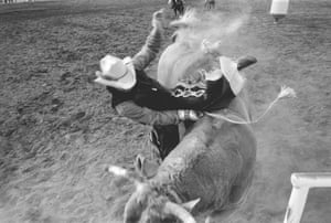 Man tossed from bull at the Buckeye Senior Rodeo (only a broken rib), 2002